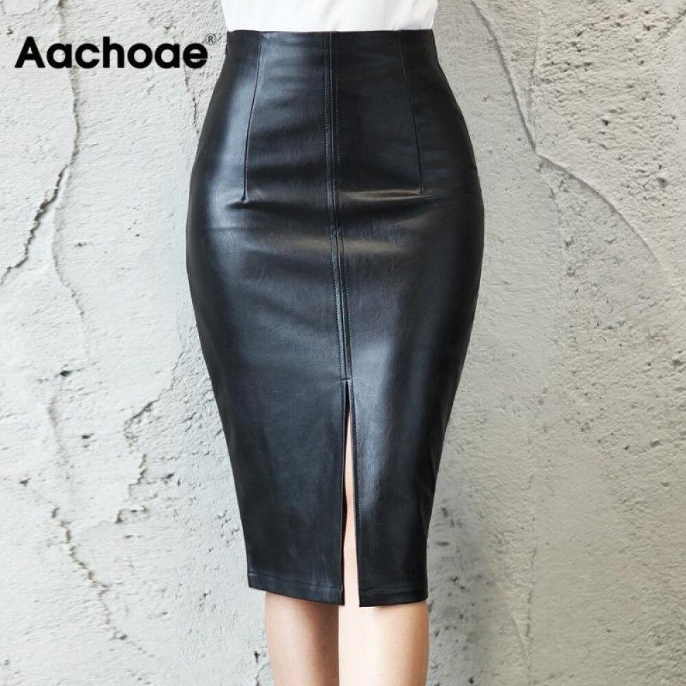 Aachoae Black PU Leather Skirt Women 2020 New Midi Sexy High Waist Bodycon Split Skirt Office Pencil