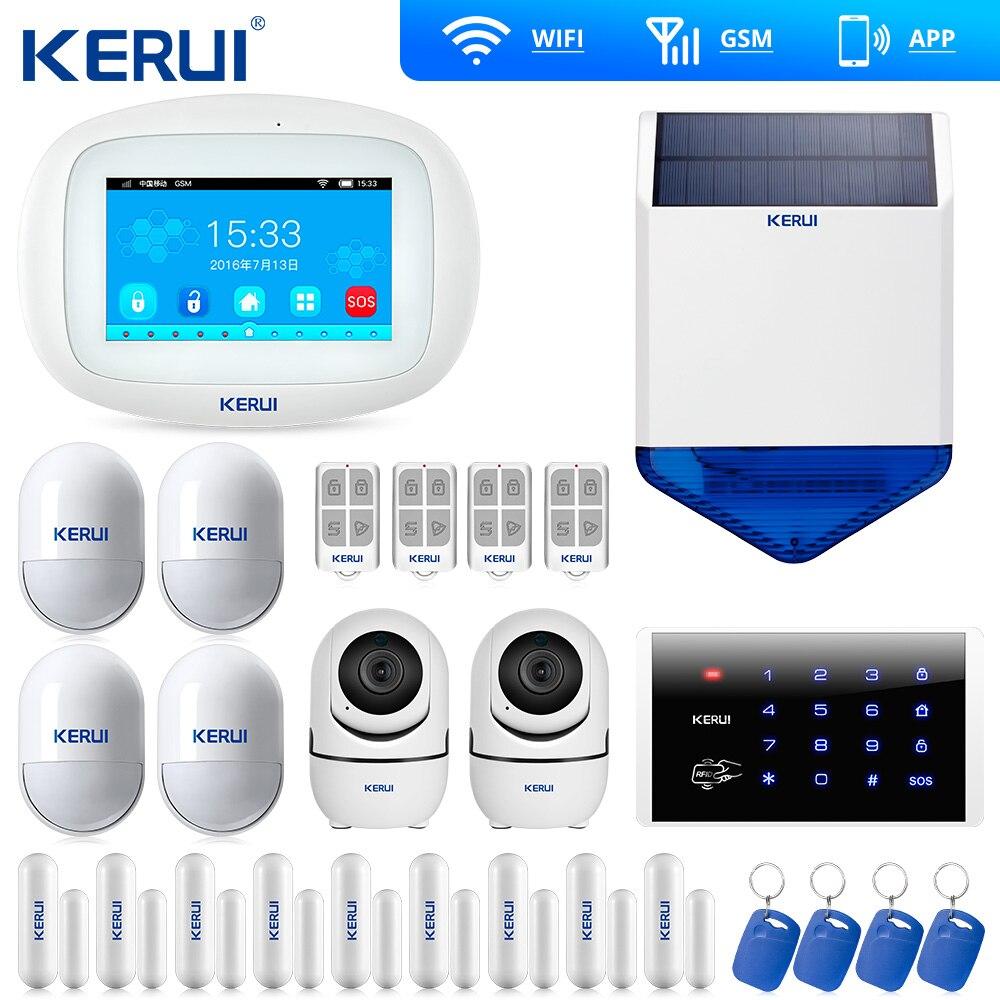 Kerui K52 Big Screen WIFI GSM Alarm  Security Home Alarm System Smart Home  Door Open Reminder Wifi IP Camera Solar Siren
