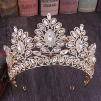 big baroque crystal tiaras wedding crown for brides women hair accessories headpieces princess pageant couronne mariage forseven