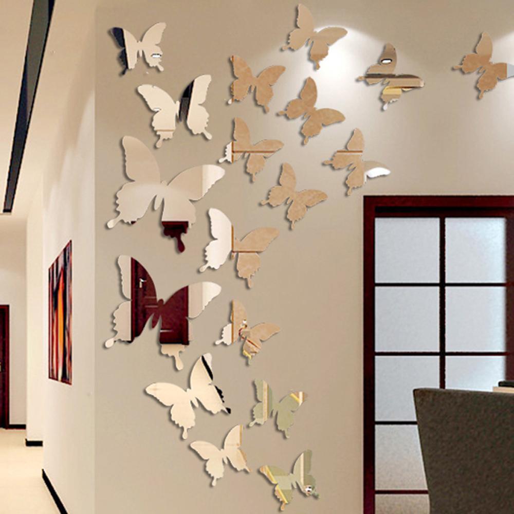 12Pcs/lot 3D Butterfly Mirror Wall Sticker Decal Wall Art Removable Wedding Decoration Kids Room Dec