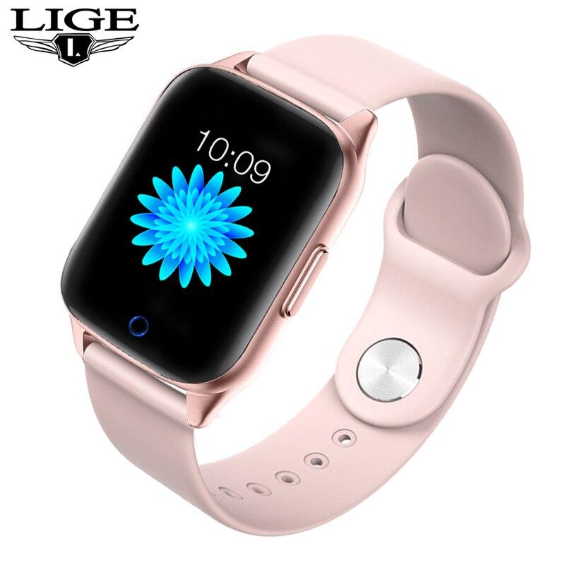 LIGE-reloj inteligente deportivo para iPhone, deportivo resistente al agua con control del ritmo cardíaco y de la presión sanguínea de hombre y mujer