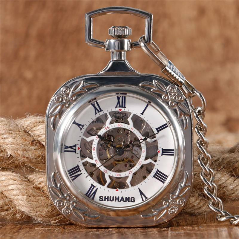 Silver Square Shape Pocket Watch Unisex Handwinding Mechanical Watches Open Face Design Roman Number with Pendant Chain Clock