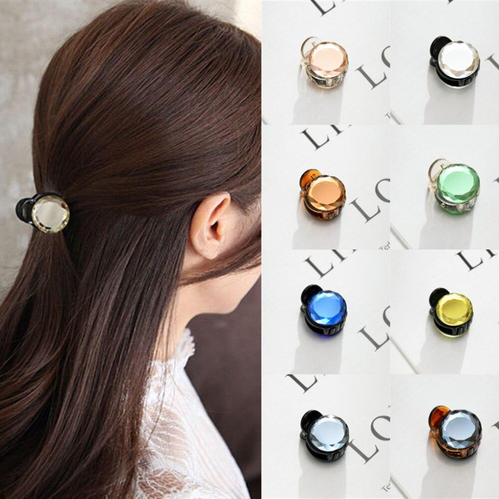Корейские милые мини круглые хрустальные заколки для волос для женщин и девочек, заколки для волос, заколки для волос, крабы для укладки, инструмент для макияжа, аксессуары для волос