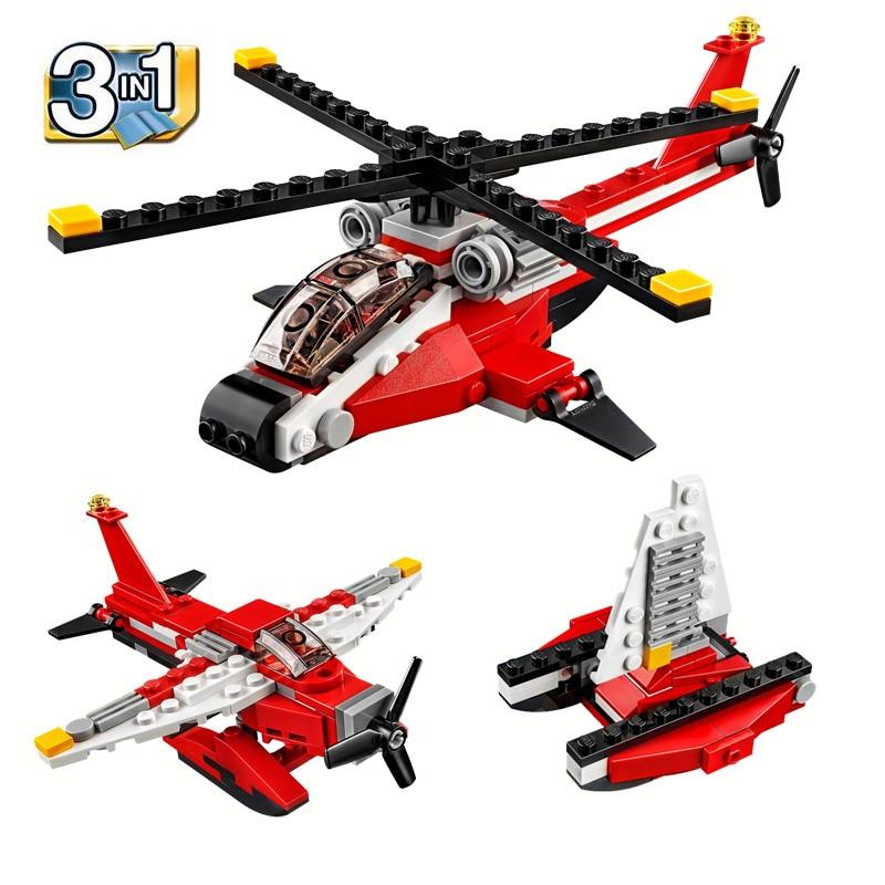 Decool 3 en 1 creador de ciudades helicóptero Avión de agua catamarán figura bloques juguetes de bloques de construcción para niños