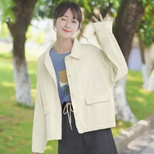 Chic Khaki 2020 New Spring and Autumn Loose Workwear Casual Jacket All-Matching Top Polo Collar Soli