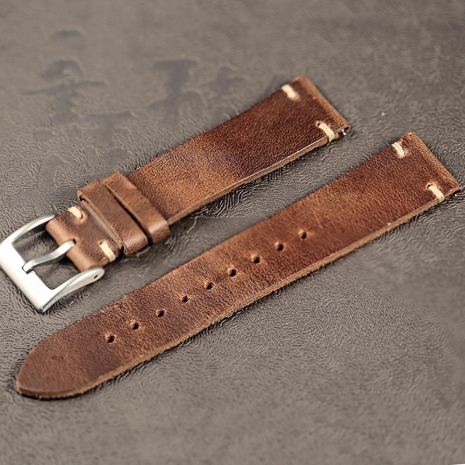 Horween chromexcel pulseiras de relógio couro natural 100% cintas de couro artesanais 18mm 20mm 22mm