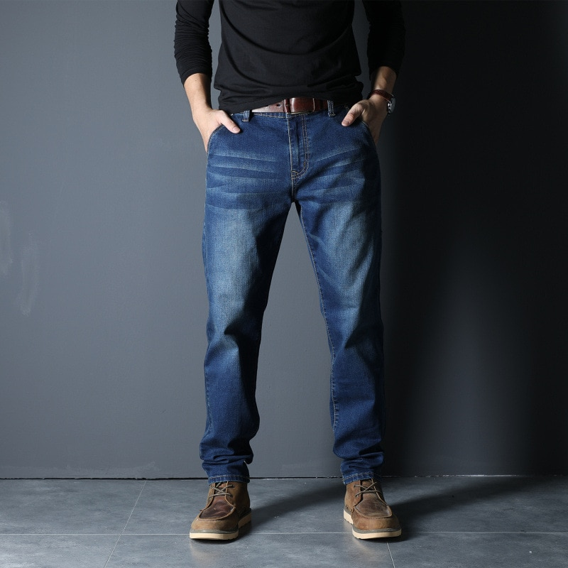 Men American Style Large Size Fall Denim Trouser Solid Color Secret Pocket Anti-Theft Business Simple Casual Straight Jeans Male