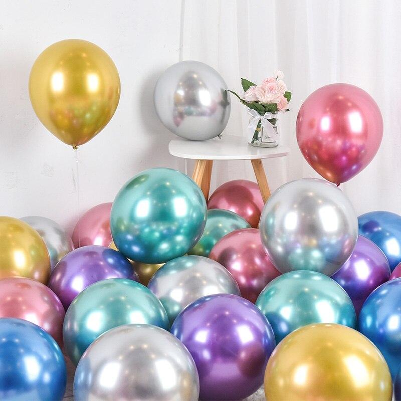 10/20pcs 12inch Glossy Metal Pearl Latex Balloons Gold Silver Green Purple Wedding Happy Birthday Decorations Air Helium Baloon