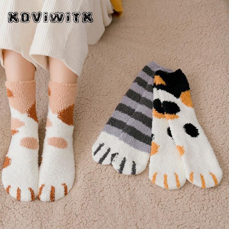 Fashion womens Cats Paw stripe 3d Socks Cute Funny Thick Girls Cartoon Animal Fingers Sock Hosiery Toe Zebra/Tiger/Cat Foot Sox
