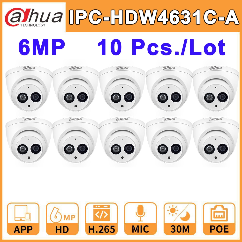 Wholesale 10 Pcs./Lot DH-IPC-HDW4631C-A Dahua IP Network Camera Home IPC HD 6MP CCTV IR30M Night Vision Built-In Mic IP67 Onvif dahua ip camera ipc hdw4433c a 4mp network ip camera onvif built in mic poe 4433c a 4431c a home security cctv h 265 ipc camera
