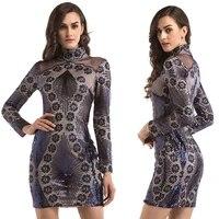 women long sleeve dress mesh sexy dress embroidered sequin vestidos black dress elegant party dress