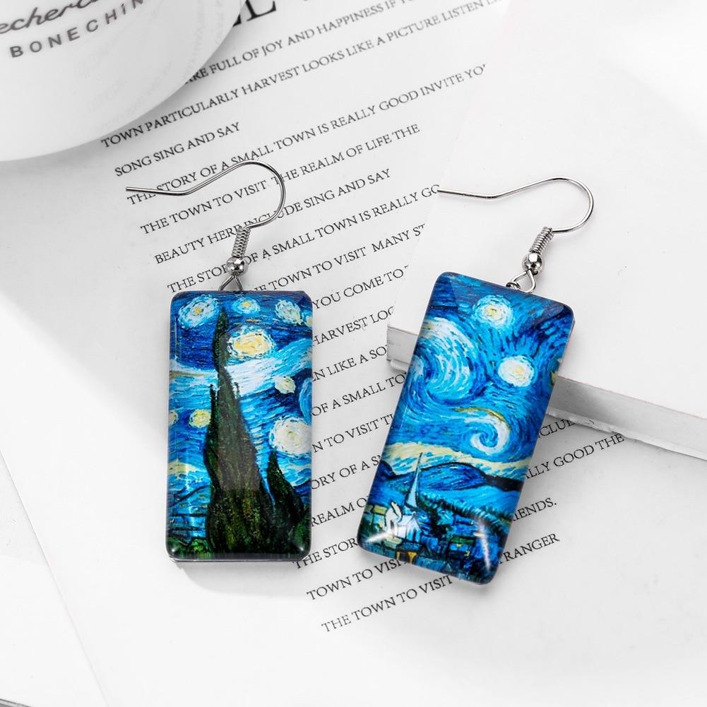 BOEYCJR pendientes de gota de resina estilo pintura al óleo de moda hechos a mano joyería gancho pendientes colgantes para las mujeres