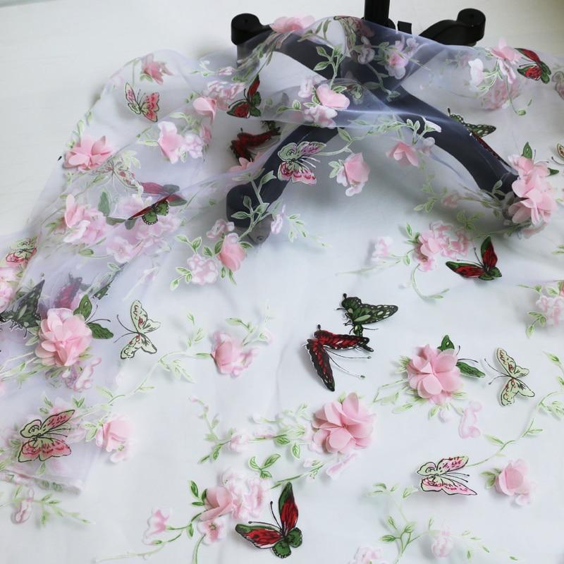 100cm x 135cm, estampado de mariposa, Material de Organza, gasa de tela, Floral 3d