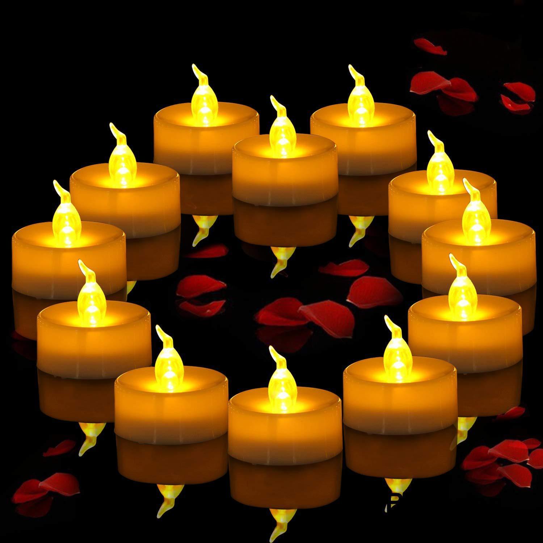 Реалистичные светодиодный ные свечи, Чайные свечи, работающие от батарейки, Мерцающие яркие свечи, беспламенные неароматизированные безоп...