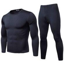 2pcs Men Thermal Underwear Set Winter Long Johns Pajama Set Fit Tops Bottoms Winter Warm Velvet Inne