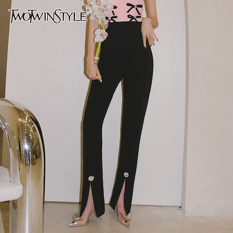 TWOTWINSTYLE الأسود نحيل بانت عادية للنساء عالية الخصر جيوب الجانب سبليت الصلبة الحد الأدنى السراويل الإناث الملابس 2021 نمط