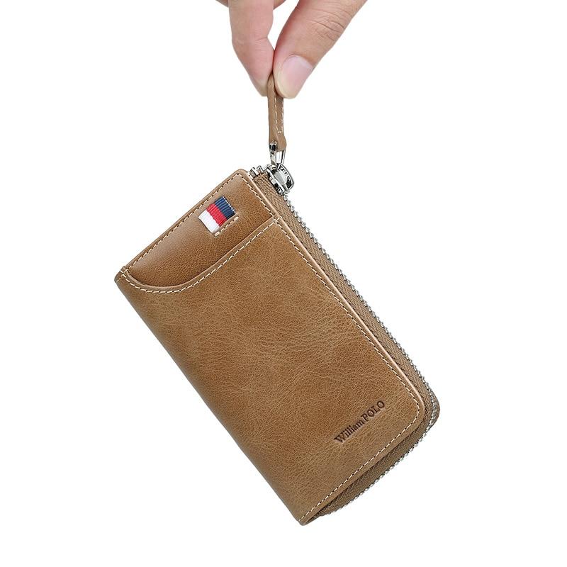 Купить с кэшбэком Vintage Zipper Key Holder Genuine Leather Men Car key Organizer With keychain porte cle Fashion Leather Key Bag Case PL309