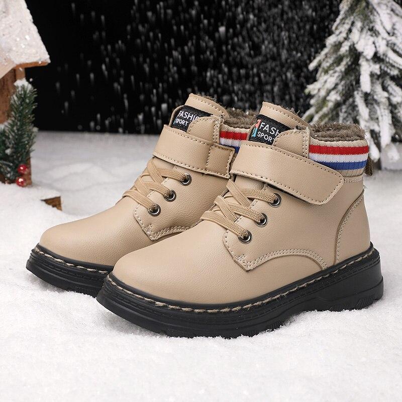 Winter Children Warm Martens Boots Keep Warm Plush Cotton Booties Kids Zipper Ankle Snow Boots Child