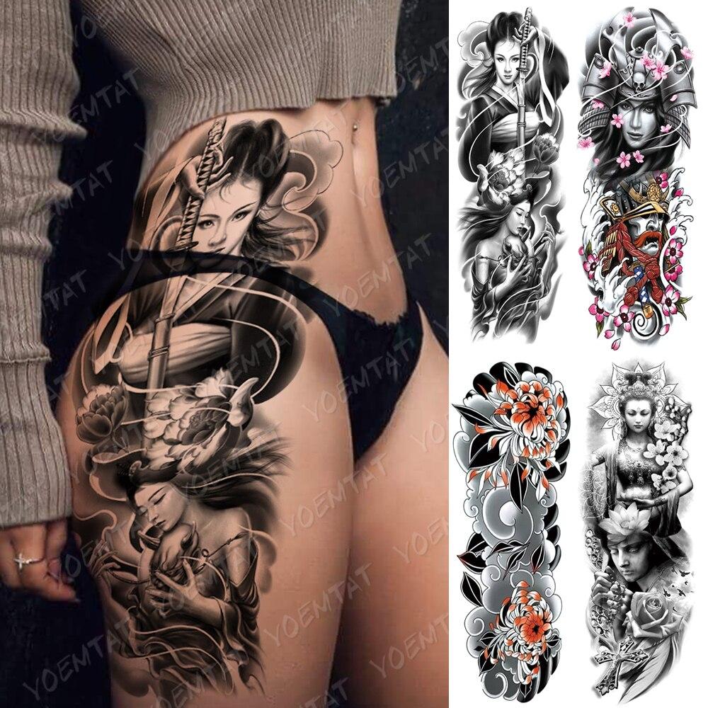 Gran manga de tatuaje para brazo Geisha japonesa Samurai impermeable temporal tatuaje etiqueta pistola pierna cintura el arte de cuerpo de la Tatuaje falso de las mujeres