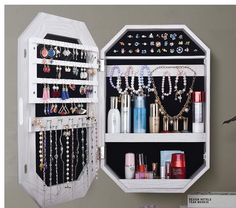 Espejo espejo para el hogar con estante de almacenamiento espejo de pared armario colgante espejo de joyería espejo de recepción