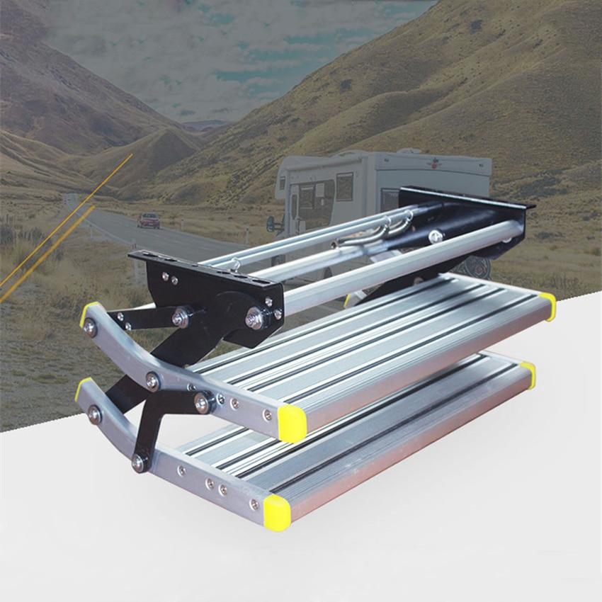 W122 Aluminum Alloy Antiskid Motorhome Manual Pedal Step Telescopic Steps Ladder Portable Single/Double Step Folding Step Ladder