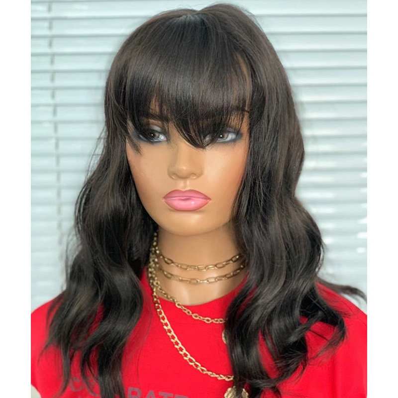 Body Wave Short Bob Wigs With Bangs Synthetic Hair Glueless Full Machine Made Wigs Loose Wave Non Lace Wigs For Black Women