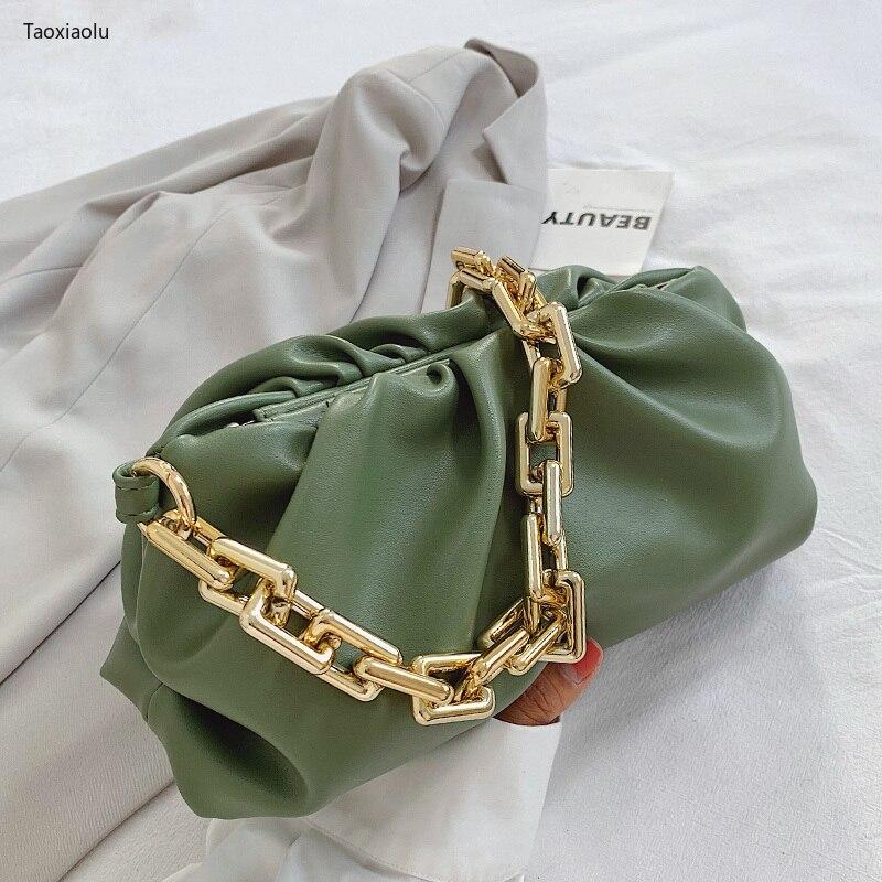 2021 Day Clutch Thick Gold Chains Dumpling Clip Purse Bag Women Cloud Underarm Shoulder Bag Pleated Baguette Pouch Totes Handbag