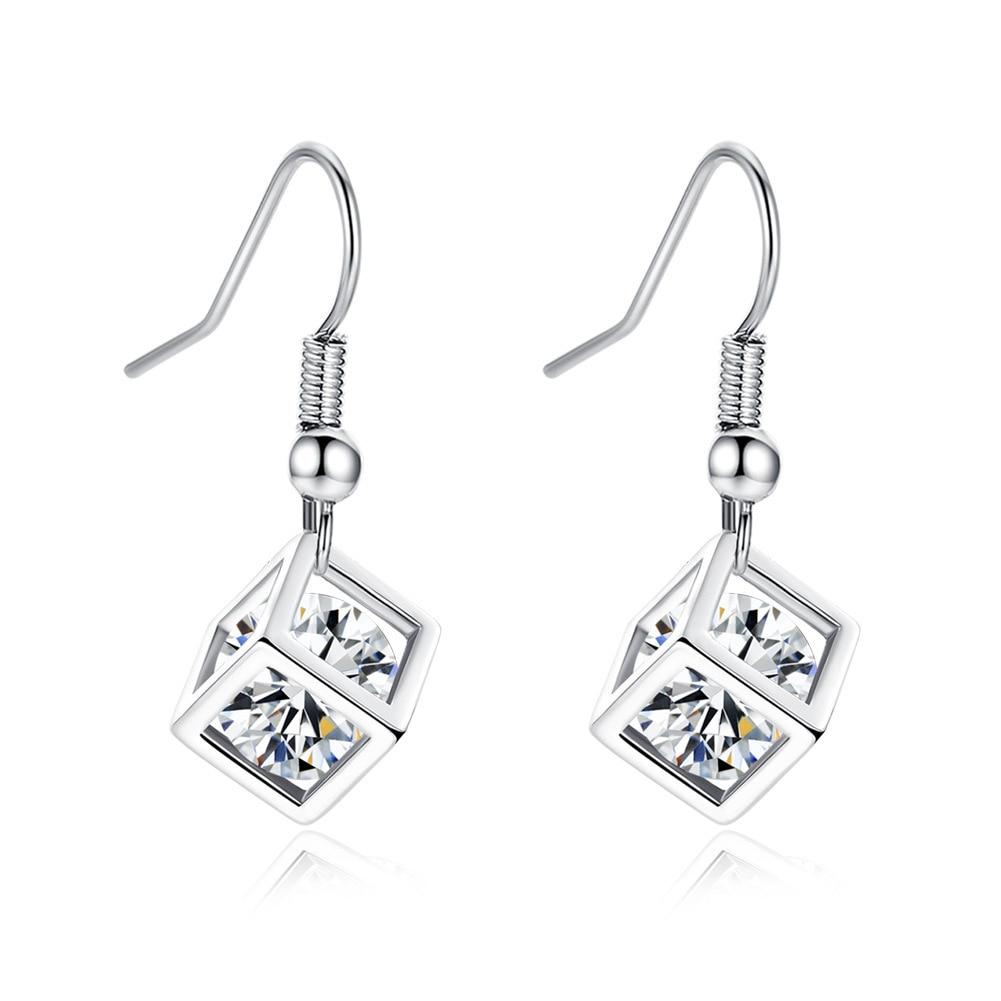Solid Platinum Genuine Drop Earrings 2CT Diamond Dangle Earrings For Women Enagagment