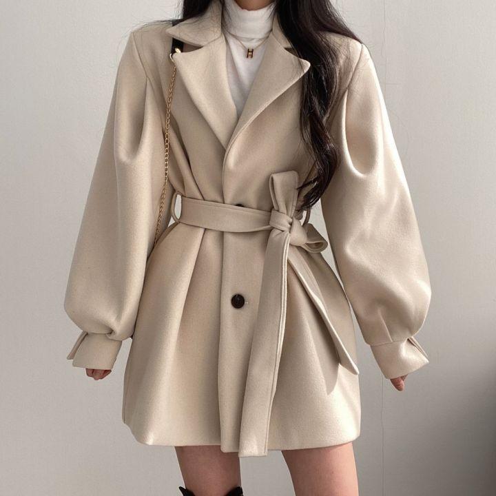 معطف صوف عتيق للنساء على الطراز الكوري ، جاكيت أنيق بحزام ، أكمام طويلة ، صدر واحد ، مجموعة جديدة 2021