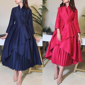 Simple but Elegant V Neck Three Quarter Sleeve Pleated A Line Skirt Tea Length Prom Dresses