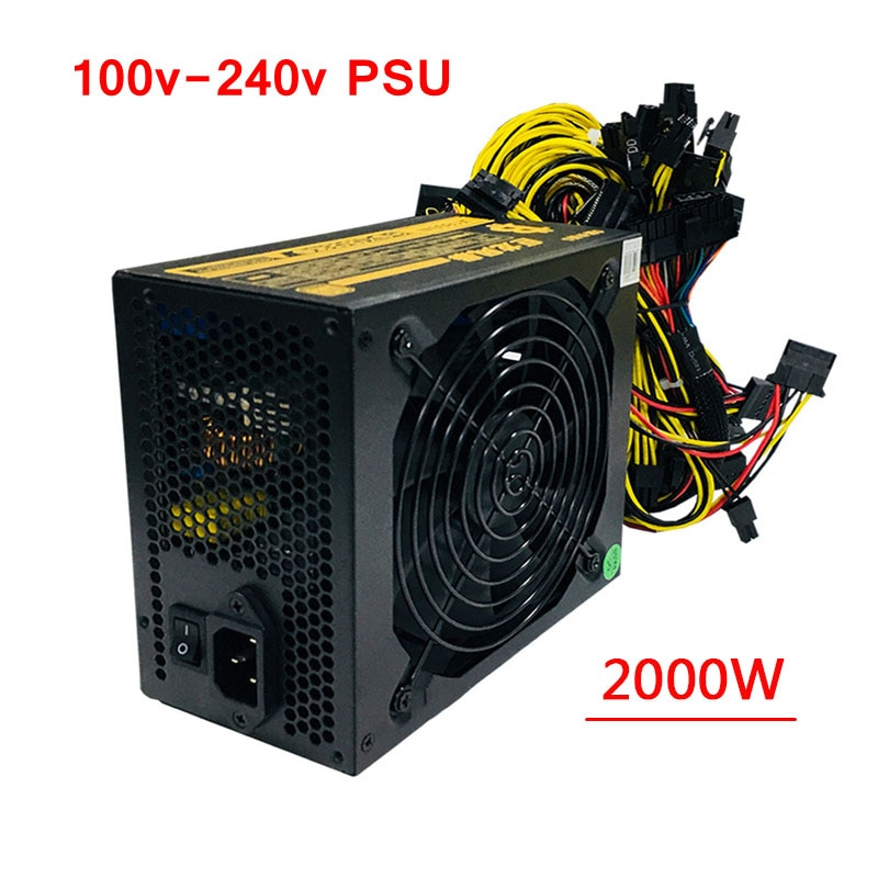 Plataforma minera PC 2000W fuente de alimentación de la computadora Asic Bitcoin ethereum CryptoNote minero ATX PSU 110-240v para RX470 480 de 570, 6/8 GPU tarjeta F