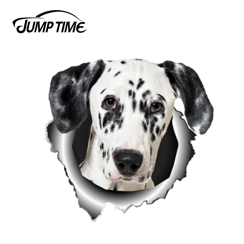 Salto de tiempo de 13cm x 12,5 cm, pegatina de perro para coche dálmata rasgada de Metal, pegatina reflectante, calcomanía divertida 3D, estilismo impermeable para coche