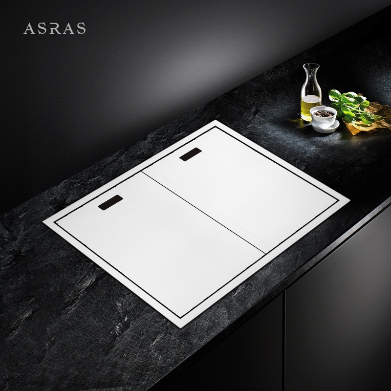 Asras 7247E SUS304 حوض مطبخ مصنوع يدويًا أغطية المغسلة المغطاة بالوعة غرامة نحى مع مجفف وصنبور المطبخ شحن مجاني