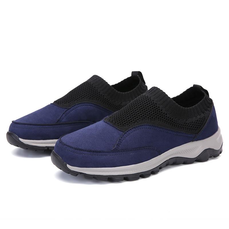 Mocasines para hombre, zapatos informales de gamuza sintética, zapatos para conducir para hombre, zapatillas de calcetín de punto, tallas grandes 39-48, calzado masculino de deslizamiento para exterior