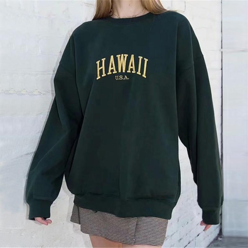 هاواي المطرزة المتضخم البلوز الأخضر الداكن كم طويل طاقم الرقبة البلوز بلوزات دافئة المرأة البلوز