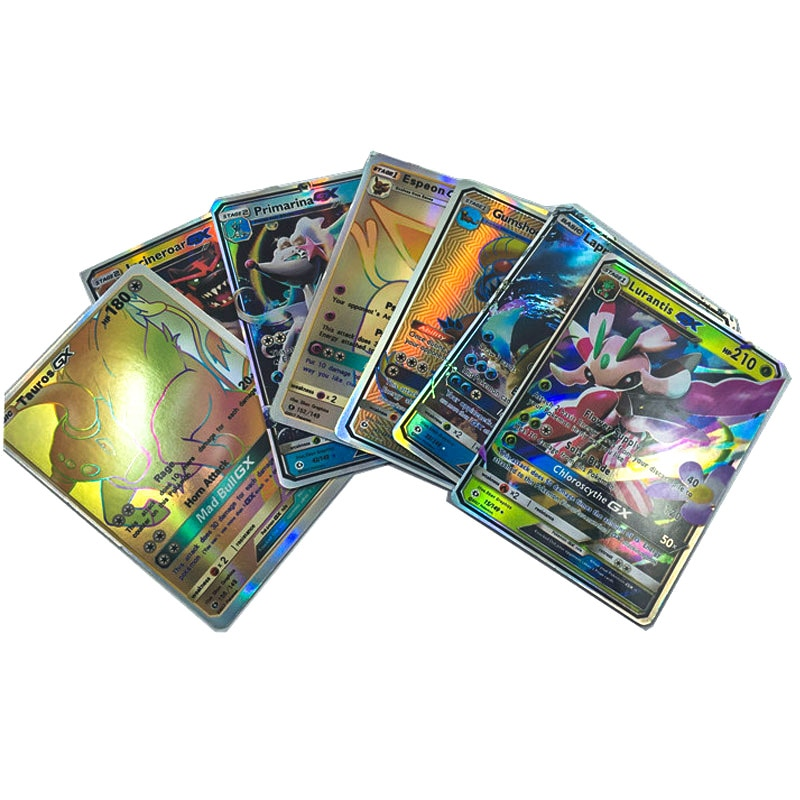 Takara Tomy Toys Hobbies Game Collection Cards Collectibles 100pcs Shining Card English Pokemon Trainer GX EX Cards недорого