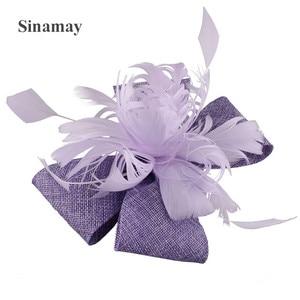 Light Purple Sinamay Wedding Headwear Elegant Women Fashion Fascinator Hair Accessories With Fancy Feathers Hair Clip Headdress