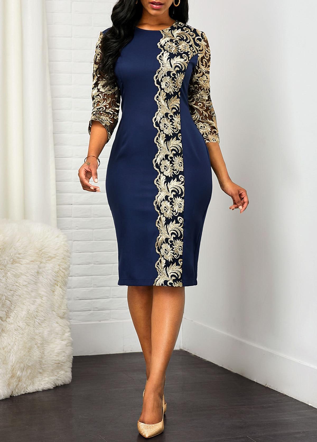 2020 Autumn Dress Office O-neck Lace Patch Slim Seven-point Sleeve Pencil Bag Hip Dress Ladies Casual Loose Large Size Dress 5XL