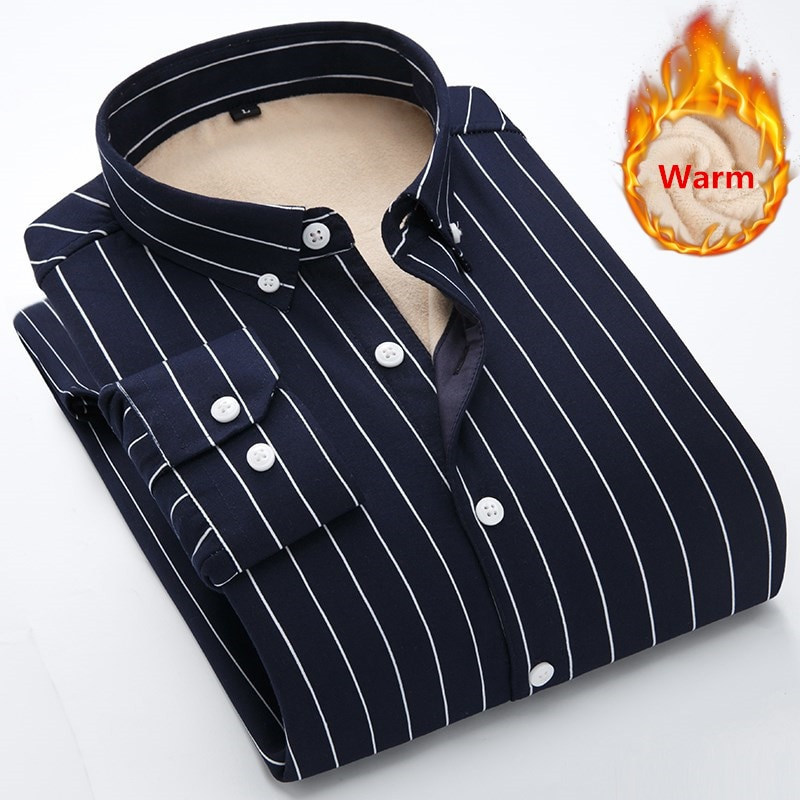 2019 Winter New Flannel Men's Shirt Long Sleeve Striped Plus Velvet Thickening Brand Dress Business Shirt Casual Slim Fit 5XL