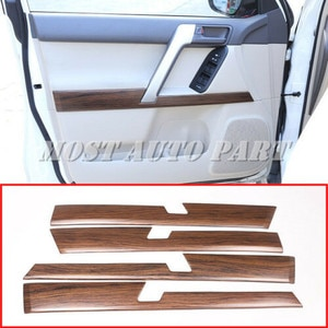 ABS Plastic Pine Wood Grain Car Interior Door Panel Molding Cover Trim For Toyota Land Cruiser Prado FJ150 2010-2018 4pcs