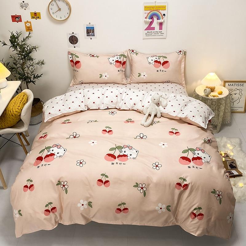الاطفال حاف الغطاء غطاء سرير طقم سرير للزوجين التوأم الملكة حجم الشمال الفاخرة الكرتون Kawaii القط المفرش على أغطية سرير
