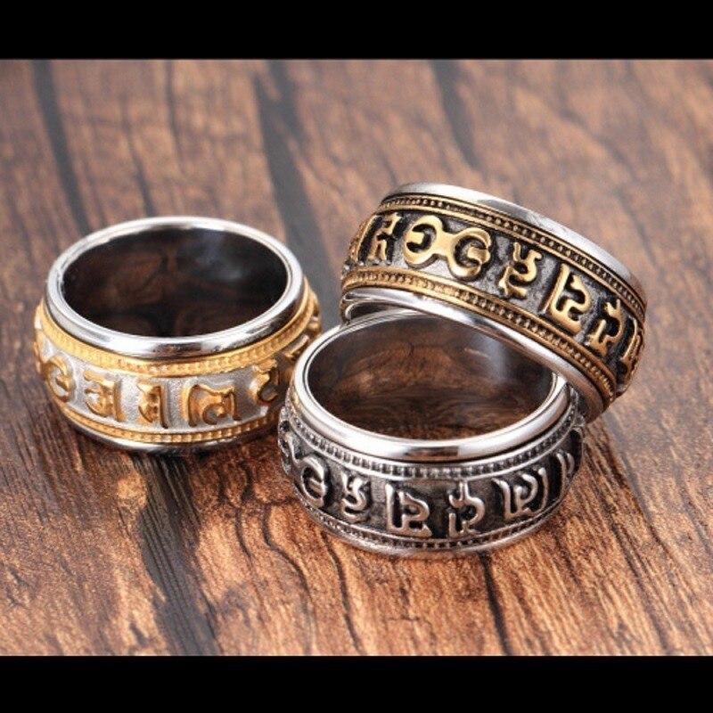 Anillo giratorio Mantra para hombre, titanio, acero, marea, personalidad dominante retro, dedo índice único, anillo con joyería
