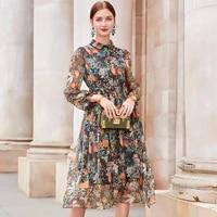 fashion silk dress woman floral midi dress female elegant dresses for women spring autumn clothes 2021 vestido de mujer pph3182