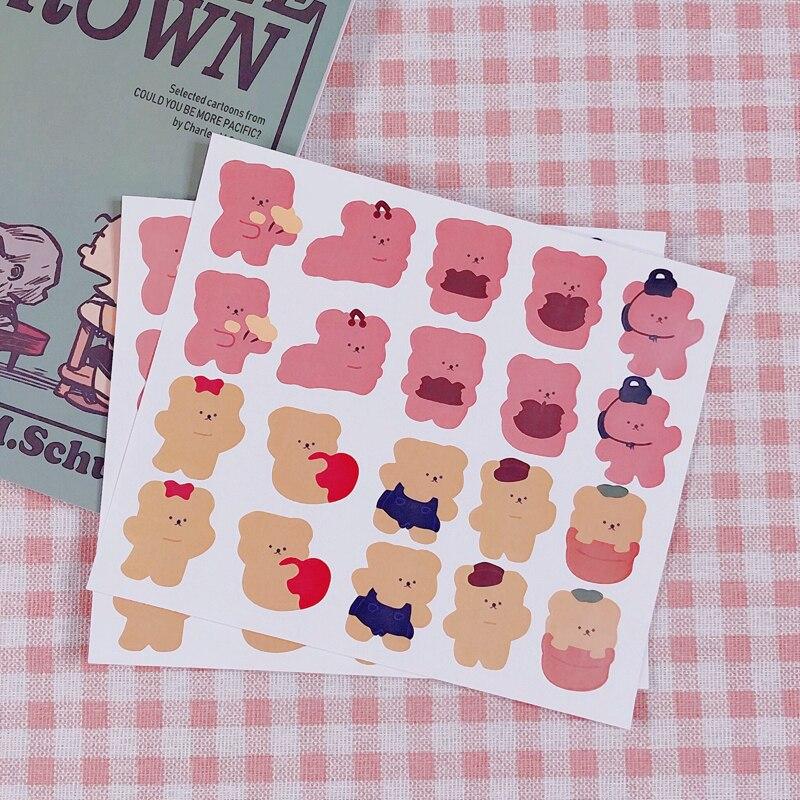 Etiqueta engomada impermeable del oso del caramelo de la historieta linda del sellado del sobre DIY etiqueta hecha a mano papelería de la escuela suministros personalizados de oficina