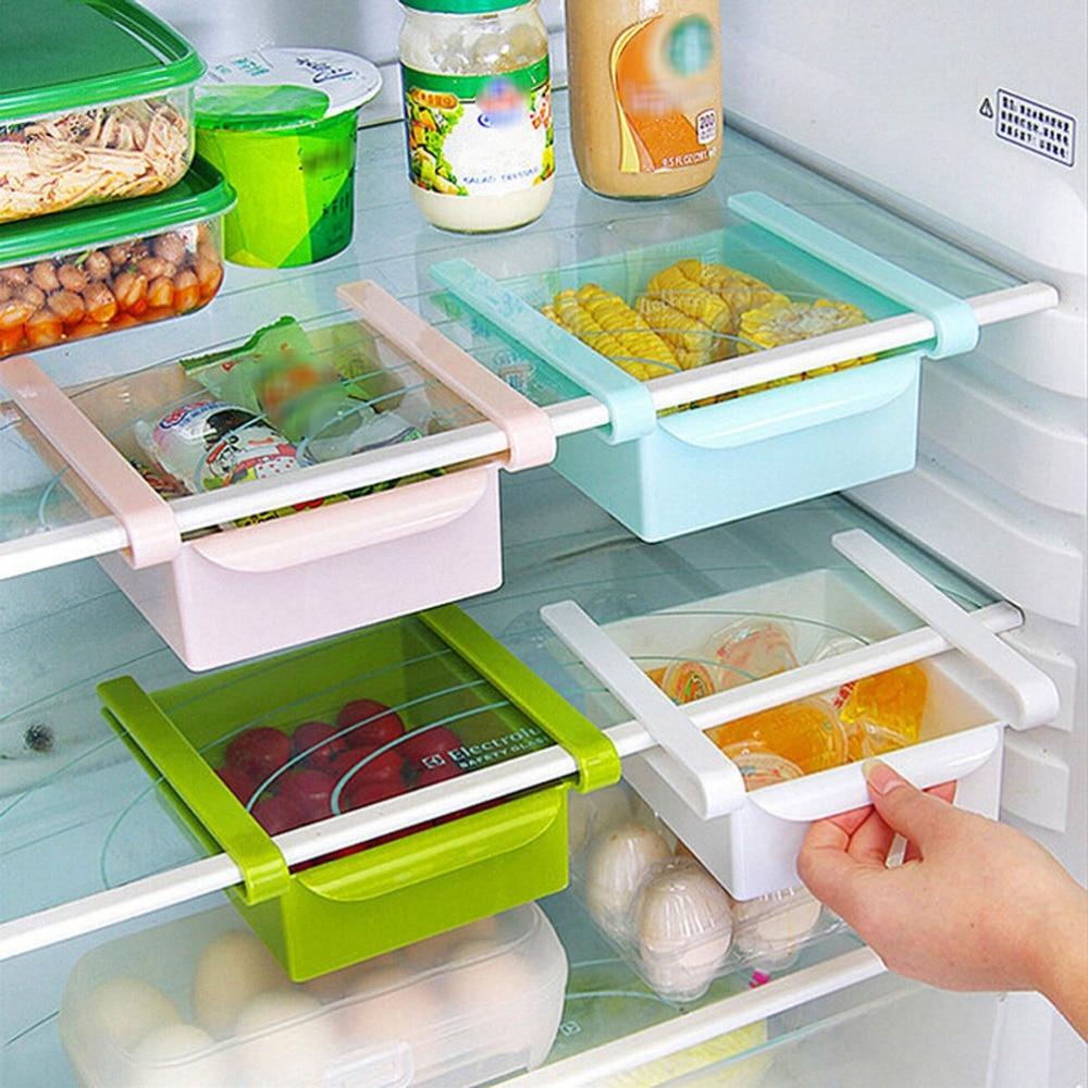 Mini ABS Slide Kitchen Fridge Organization Space Rack Freezer Bathroom Shelf Storage Saver  kitchen stuff
