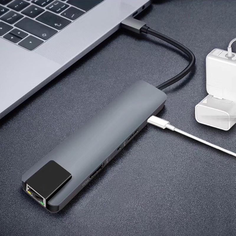 Caliente-5 en 1 USB tipo C Hub 4K Hdmi USB C a Gigabit Ethernet Rj45 Lan adaptador para Mac libro Pro Thunderbolt 3 USB-C cargador P