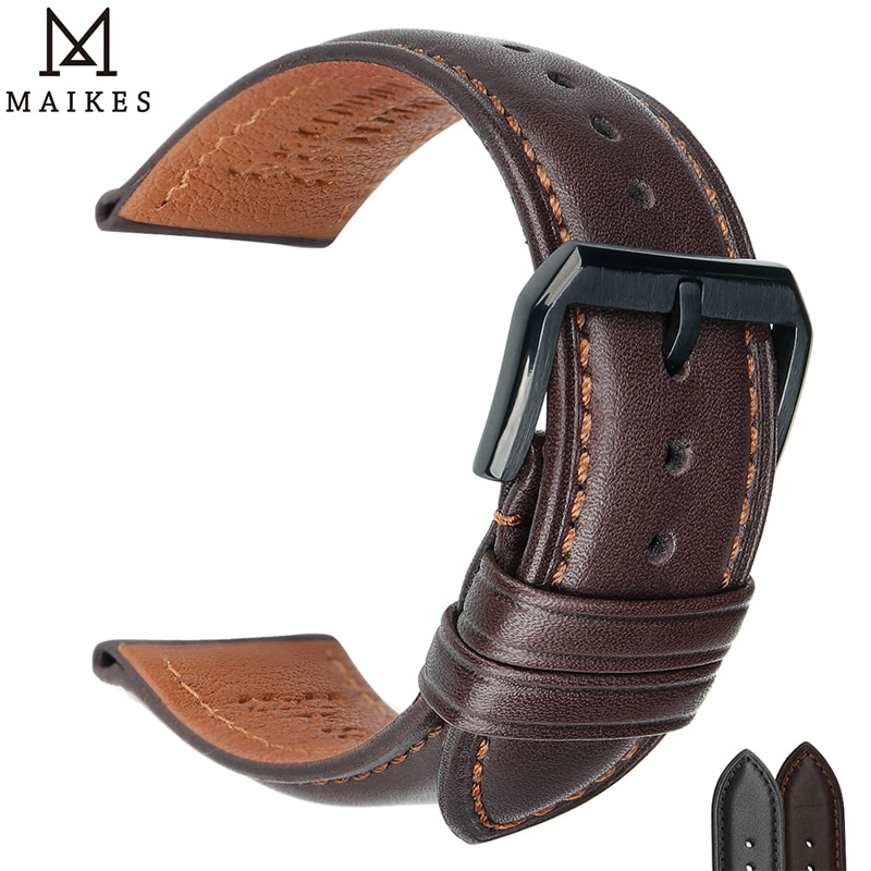 MAIKES 100% Genuine Cow Leather Watch Band loop Bracelet Belt 18mm 20mm 22mm 24mm Smart Accessories for Galaxy Active