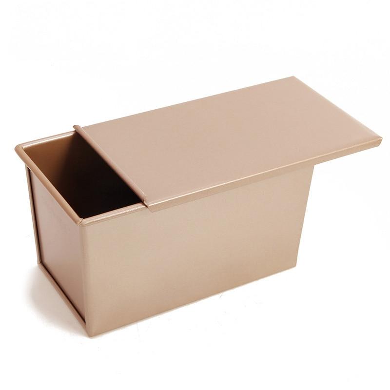 Caja de pan tostado bandejas para pan antiadherente molde dorado pastel Rectangular de acero al carbono fuelle cubierta cocina herramienta accesorios para hornear