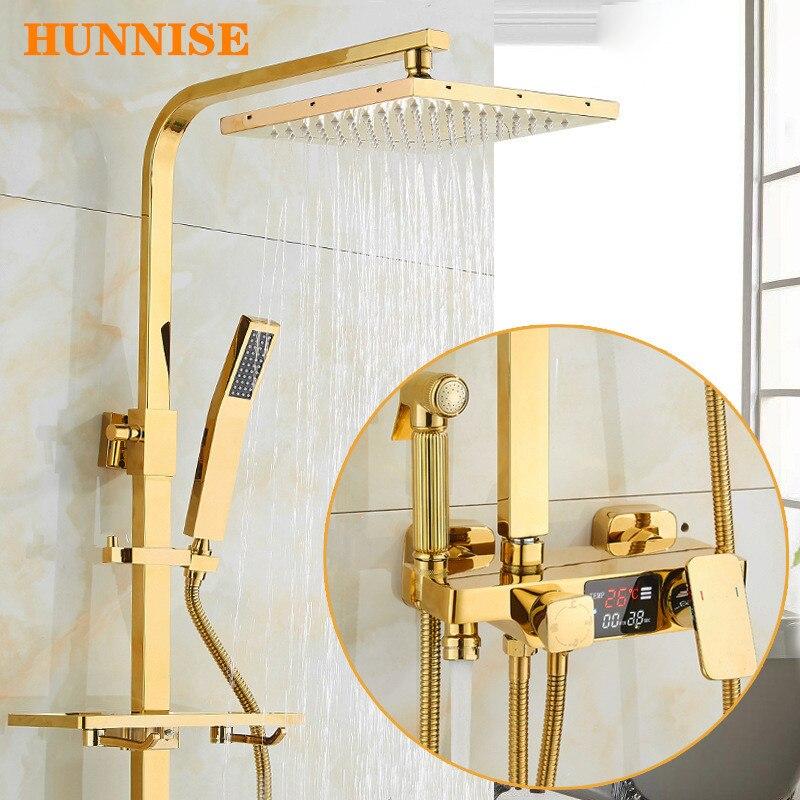 مجموعة دش رقمية نحاسية ذهبية ، صنبور حمام مثبت على الحائط ، مجموعة خلاط دش مطري ، مجموعة دش ثرموستاتي ذهبية