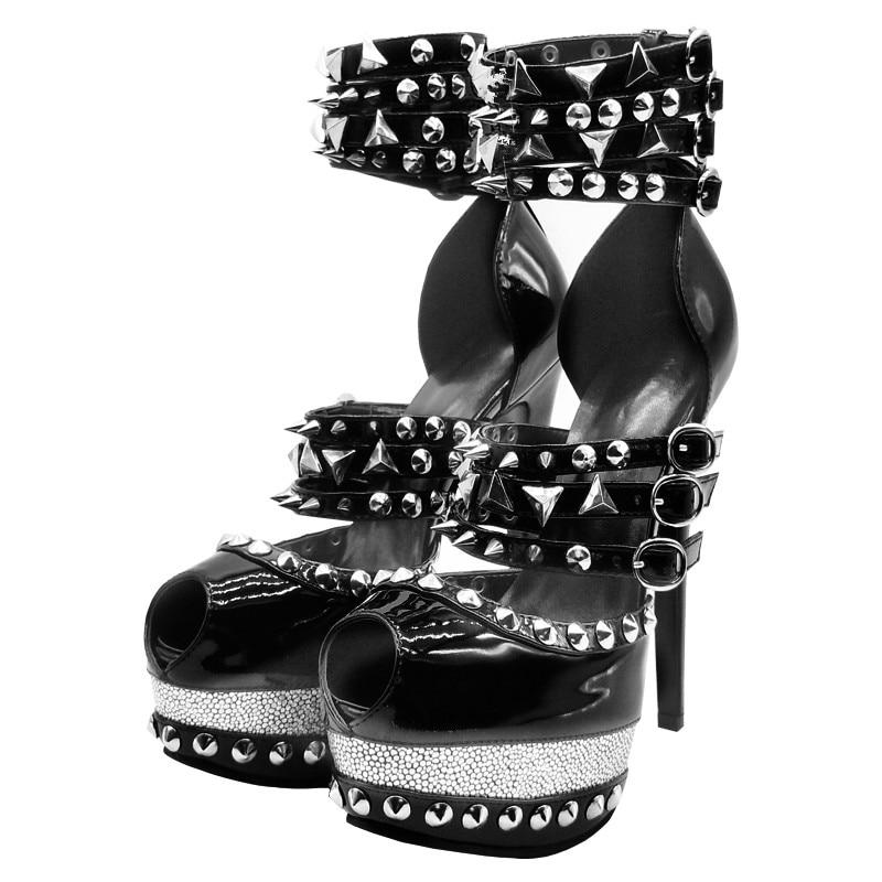 Minan Ser-صندل نسائي بكعب عالٍ ومسامير برشام ، حذاء صيفي مثير ، كعب خنجر 16 سنتيمتر ، مقاس 34-45